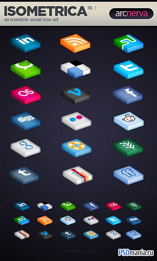 Isometrica Social Media Icon Set